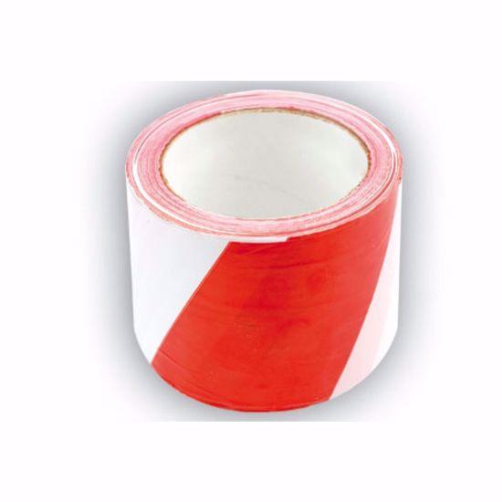 Сигнална лента бяло-червено 75мм 100м 75233