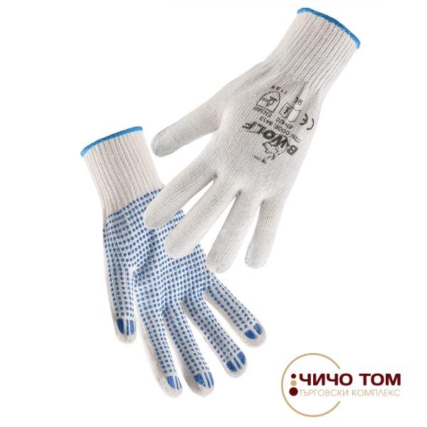 Ръкавици с ПВХ точки KELE /бяло и синьо/ 650400
