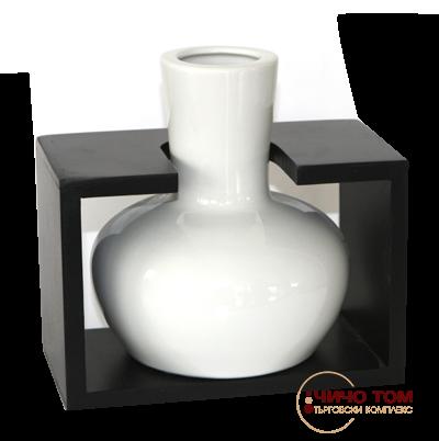 Керамична ваза с дървена поставка /бяла/