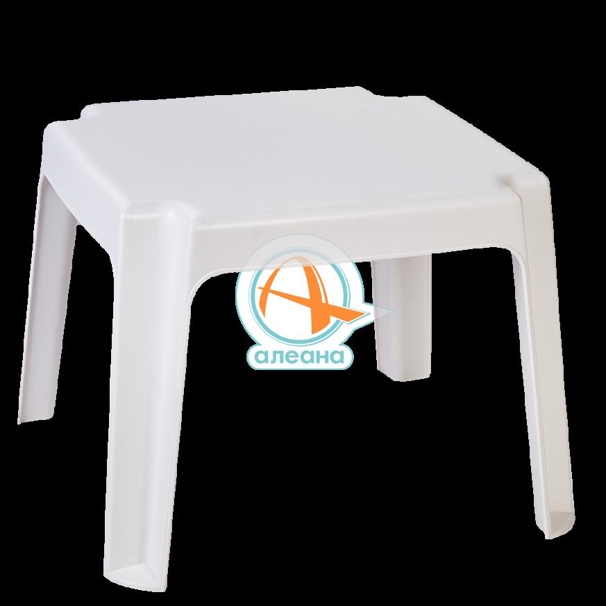 Пластмасова маса за шезлонг в бял цвят