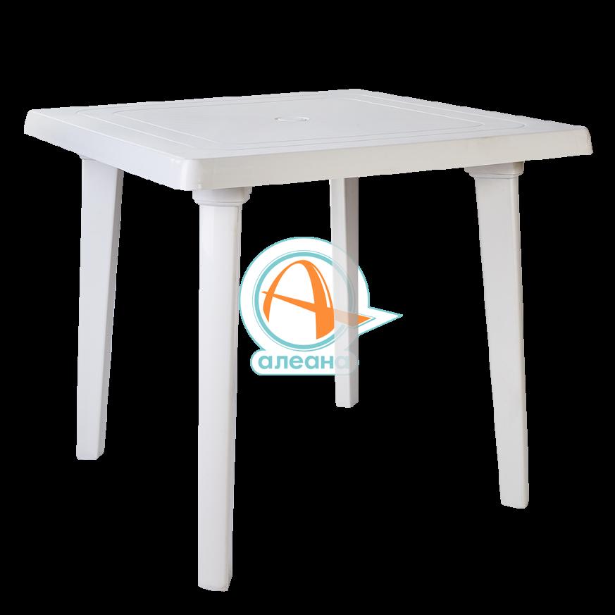 Пластмасова, квадратна маса в бял цвят