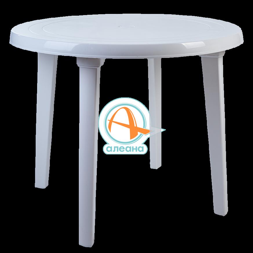 Пластмасова, кръгла маса в бял цвят