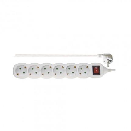 Разклонител 6 гнеза 5м кабел с ключ 3077