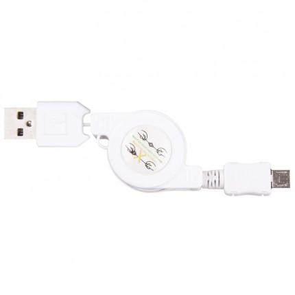 Кабел USB/USB MICRO бял 3398