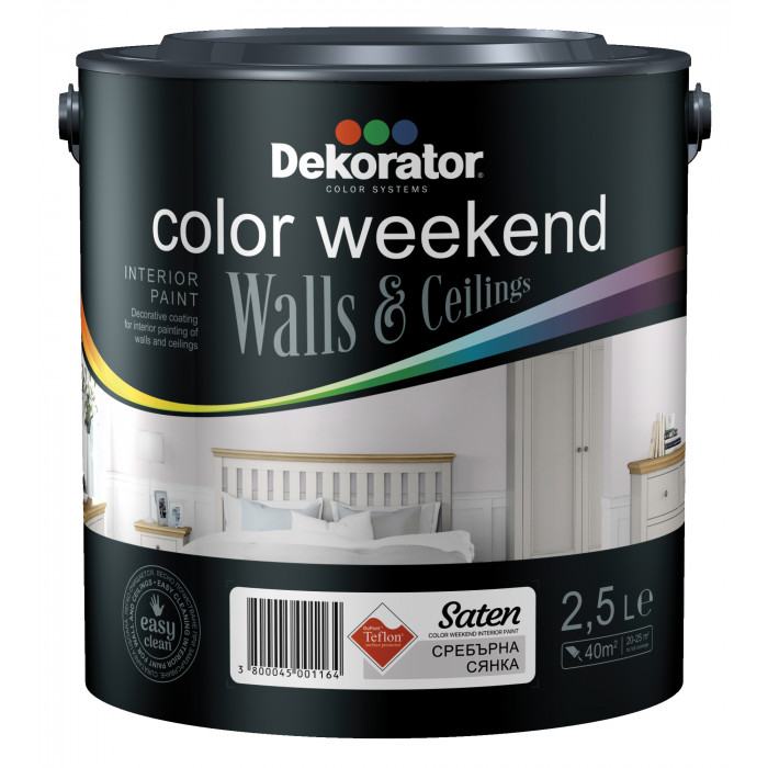 Латекс ColorWeekendSatenTeflon 2.5л сребърна сянка
